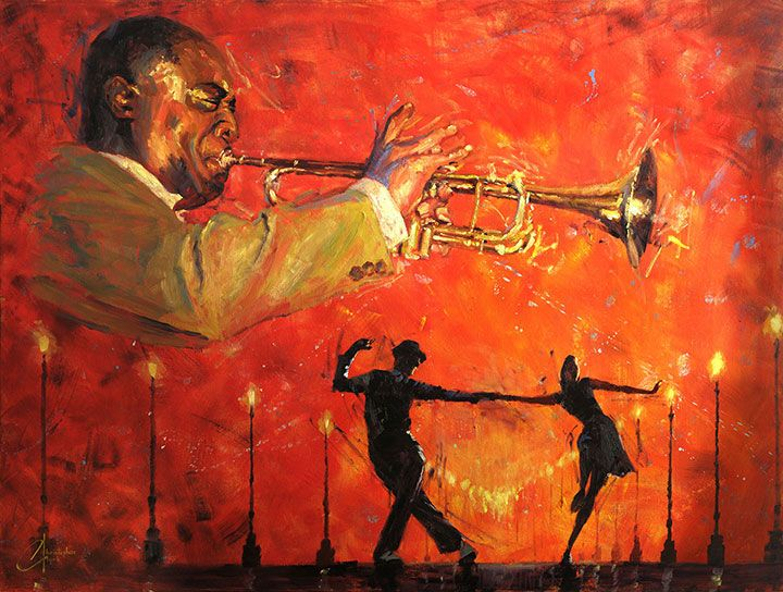 What-a-Wonderful-World---web - original jazz painting, done in oil, Louis Armstrong, by artist Christopher Clark