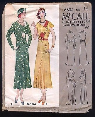 1932 McCall Pattern - Ladies' Art Deco Dress With Wrap Around Collar   #525995832