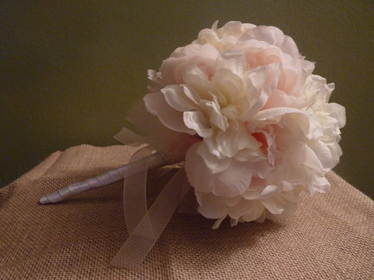 Romantic Peonies and Zinnia Bouquet, Ivory and Blush Bridal Bouquet by BloomingMoonDesigns on Etsy