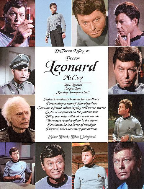 "Leonard ""Bones"" McCoy - I love him so much. He's my second favorite Original Series character."