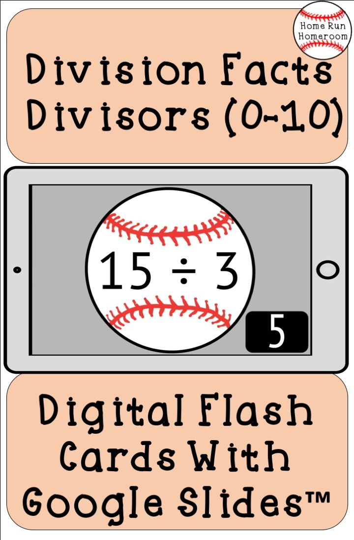 Digital Division Fact Flash Cards Divisors 0 10 With Answers Baseball Themed Elementary Math Lessons Flashcards Math Facts [ 1098 x 720 Pixel ]
