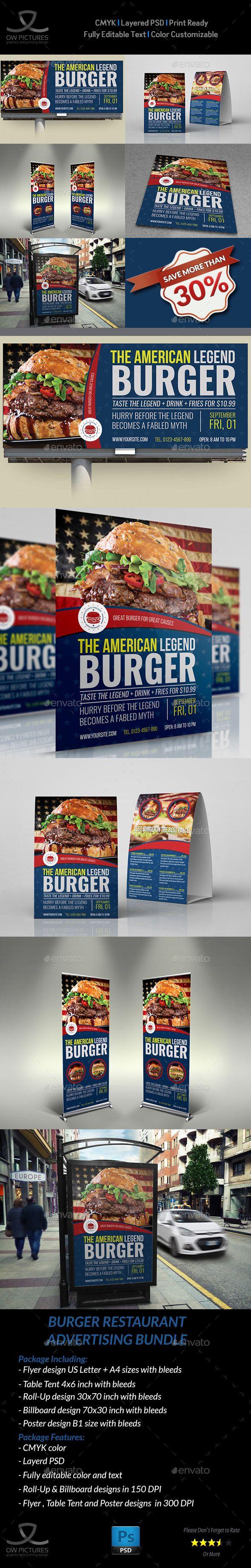 Burger Restaurant Advertising Bundle Vol.4 by OWPictures Advertising Bundle Desc...