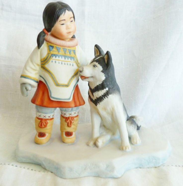 Kaiser Porcelain Sculpture Figurine Art Nori Peter Inuit & Husky Eskimo Germany #Kaiser