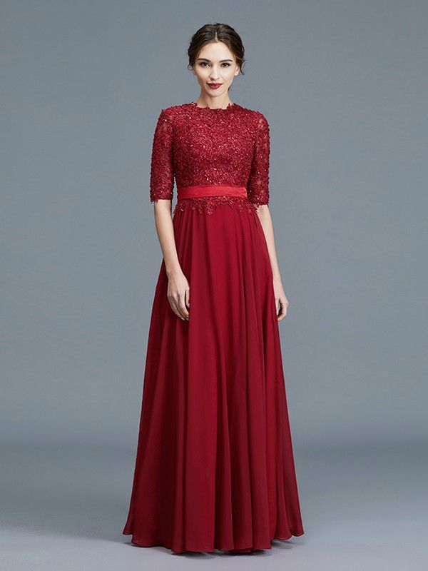 c27c148e19dc1 A-Line/Princess Scoop 1/2 Sleeves Chiffon Applique Floor-Length Mother of  the Bride Dresses