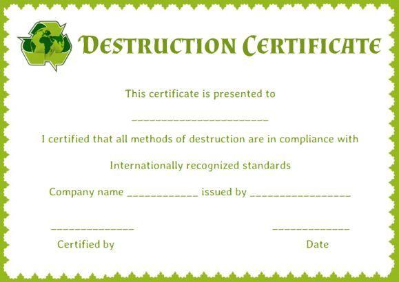 certificate of data destruction template | Certificate of ...