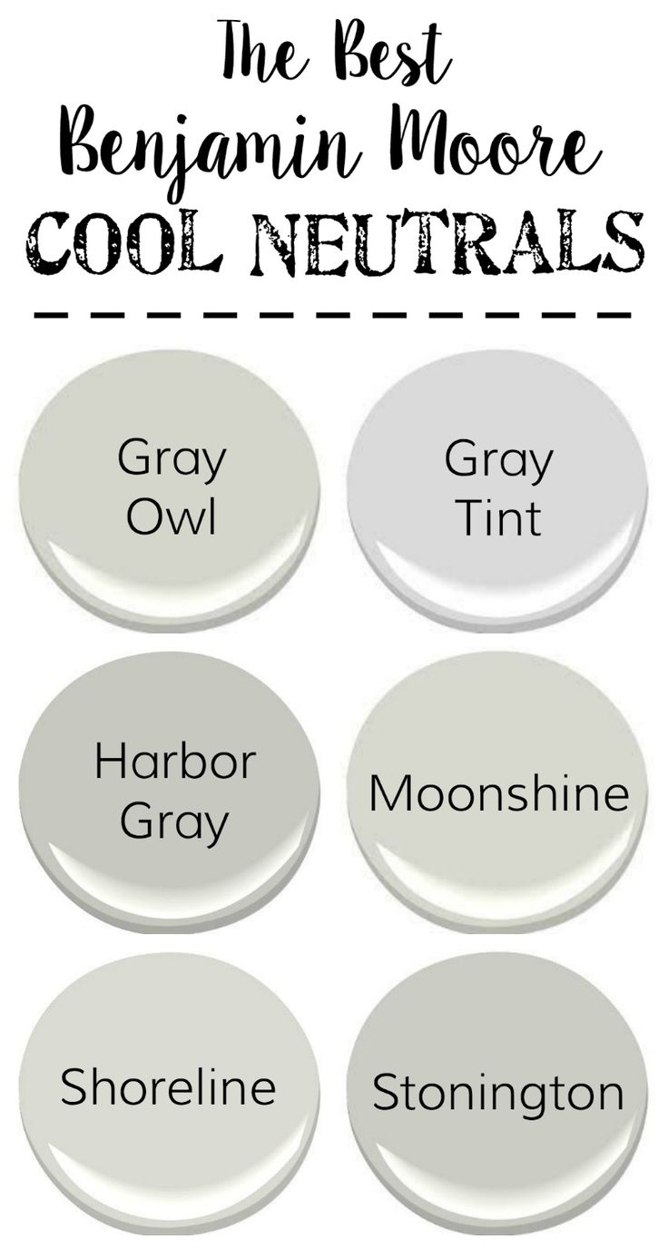 The best neutral paint colors from Benjamin Moore with cool grays, warm grays, whites, and darks to create a designer palette for your home.