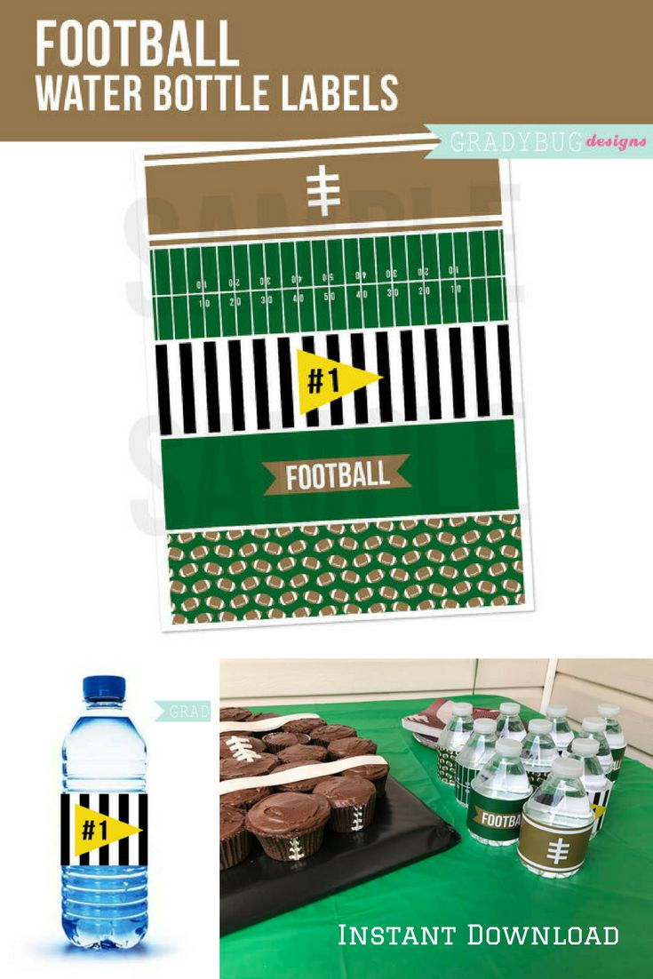 Score!  The perfect way to dress up plain water bottles at your upcoming  football party.  Simply download and decorate. Superbowl Printable: Football Water Bottle Labels Printable Drink Wrappers Football Party Football Birthday Party Football Printable #ad #football #superbowl #superbowlparty #instantdownload #waterbottles
