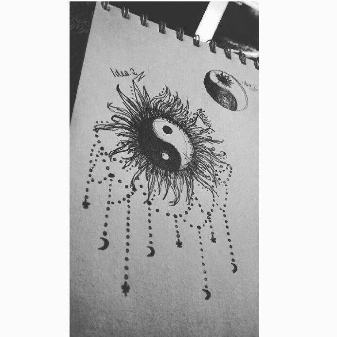 Yin yang chain tattoo with sun and moon design. | Ideas ...