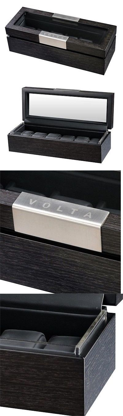 Boxes Cases and Watch Winders 173695: Volta Charcoal Wood Finish 6 Watch Box Six Storage Case With See Through Top -> BUY IT NOW ONLY: $119.99 on eBay!
