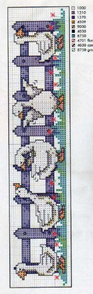 Geese Along the Fence cross stitch Bookmark
