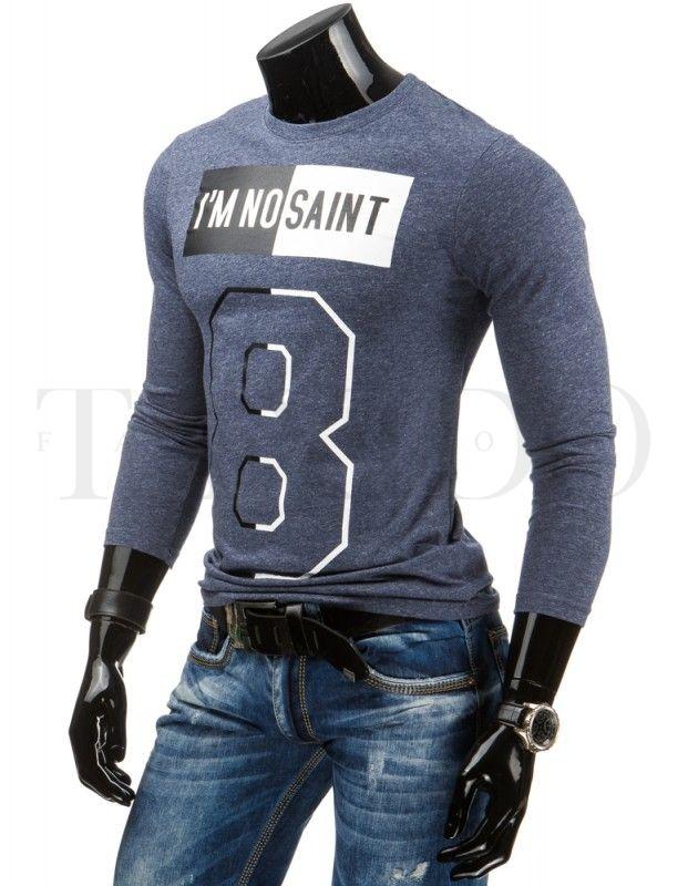 Pánské tričko s dlouhým rukávem - I am no saint, tmavěmodré