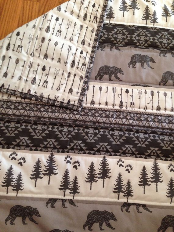 Tribal Bear Baby Quilt Black Grey and White Quilt by Nooches