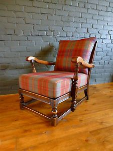 60s-70s-Vintage-Ercol-Old-Colonial-Wooden-Arm-Chair-Tartan-Wool-Shabby-Chic