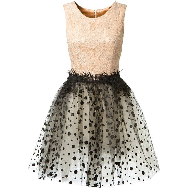 Loyd/Ford Lace Dress With Embroidered Tulle ($2,330) ❤ liked on Polyvore featuring dresses, vestidos, embroidered lace dress, tulle dress, lace dress, sequin cocktail dresses and polka dot cocktail dress