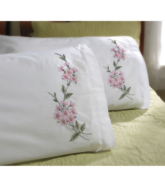"Stamped Embroidery Pillowcase Pair 20""X30""-Dogwood Branch"