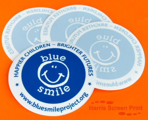 Blue smile project charity round car window stickers printed