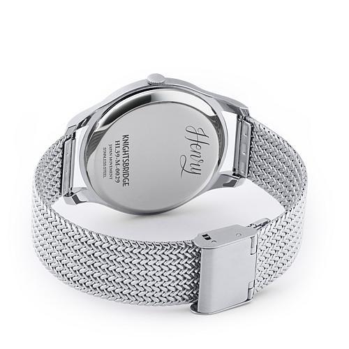 "Henry London ""Knightsbridge"" Silvertone Stainless Steel Mesh Bracelet Watch with Blue Dial"