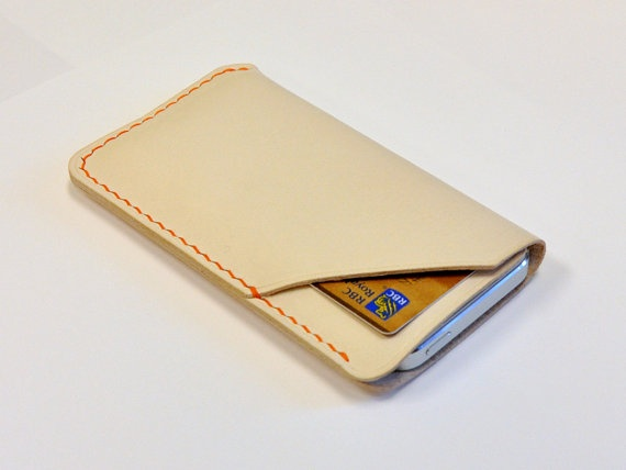 Handmade iPhone 5 Leather Case with Card Holder, iPhone Sleeve with Card Holder, Pearl White with Orange Stitches.