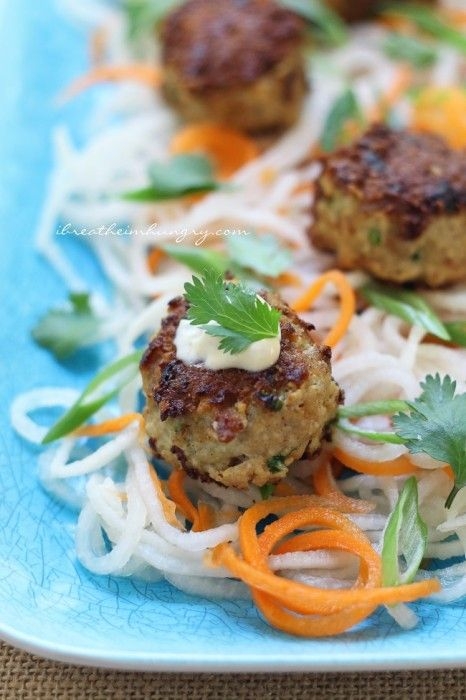 Vietnamese Bahn Mi Meatballs - a low carb, gluten free, keto, lchf, paleo, and Atkins diet friendly recipe.