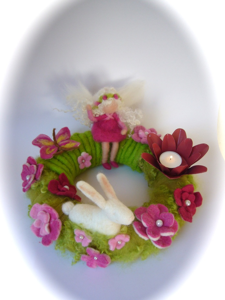 Spring,Easter Wreath .Needle Felted. Waldorf.  Table wreath.Wool