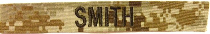 Military Name Tape -  U S Army - Desert Camo -  Name  SMITH  -  New