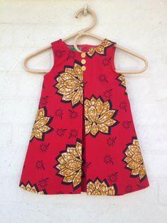 Baby girls African print fabric dress sleeveless by GreenIvyStyle