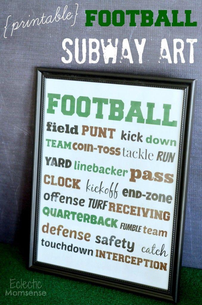 Game time football subway art printable.