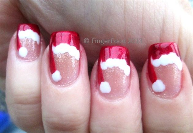 Cute little Santa hats by fingerfood - Nail Art Gallery nailartgallery.nailsmag.com by Nails Magazine www.nailsmag.com #nailart