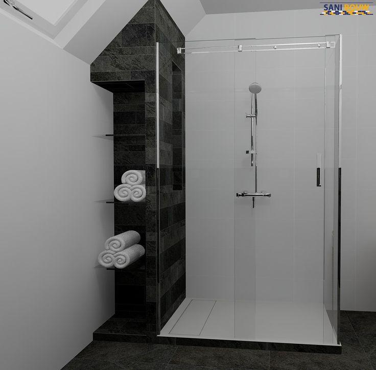 Badkamerontwerp met nisjes binnen en buiten de douche onder schuin dak. Sani-bouw.nl maakt gratis badkamer ontwerpen voor u met 360° view.