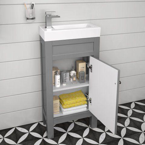 Sabrosa II Toilet & 440mm Melbourne Floor Standing Cloakroom Vanity Unit - Earl Grey