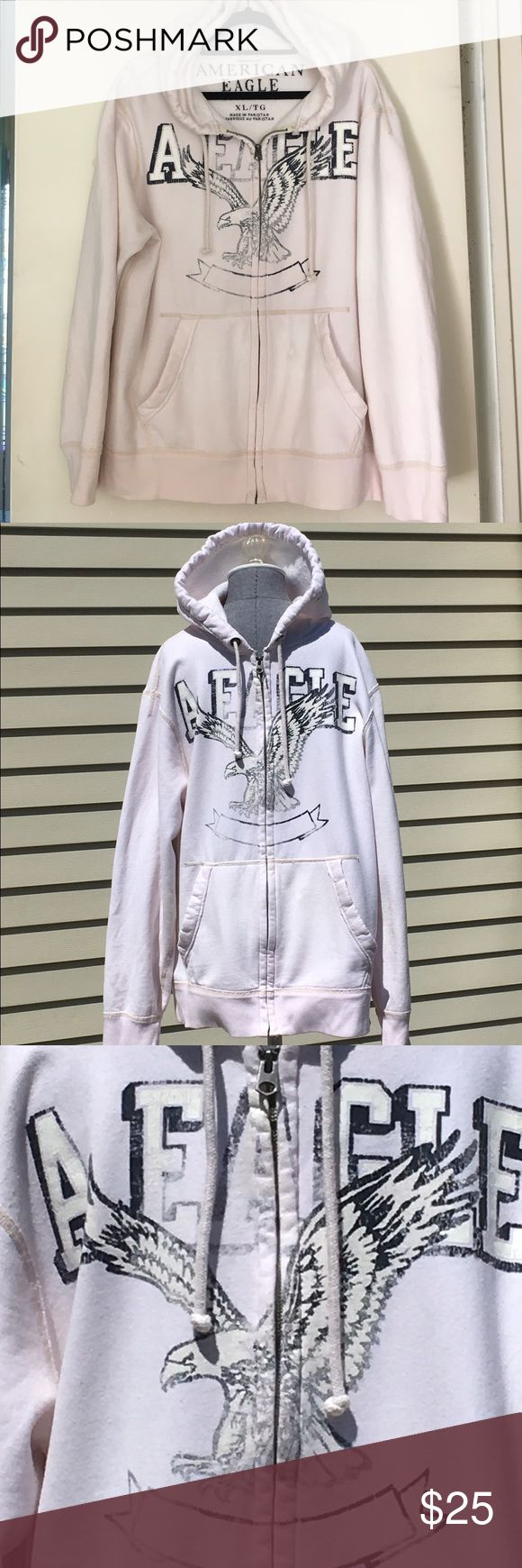 American Eagle Outfitters Off White Zip Up Hoodie American Eagle Outfitters Off White Zip Up Hoodie Size XL. Off White Hoodie with Distressed Blue & White Lettering on Front. 🚫Trades American Eagle Outfitters Shirts Sweatshirts & Hoodies