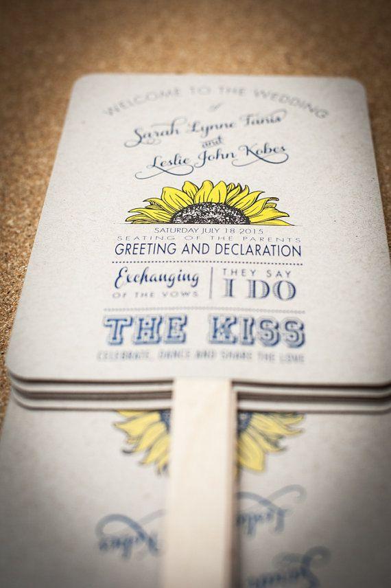 Wedding Program Fans Sunflower Wedding by FossilLetterpress