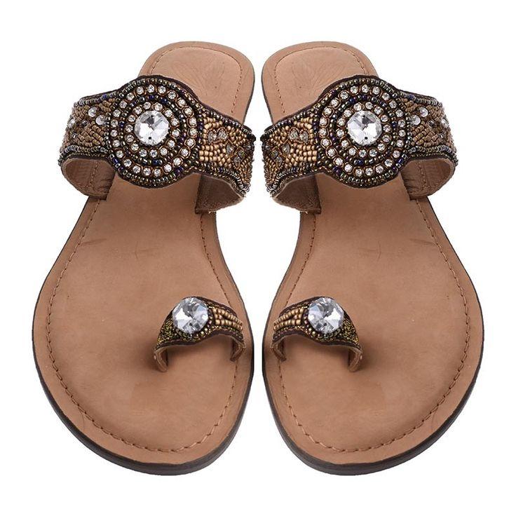 LEATHER SANDAL W/ STONES - Sandals