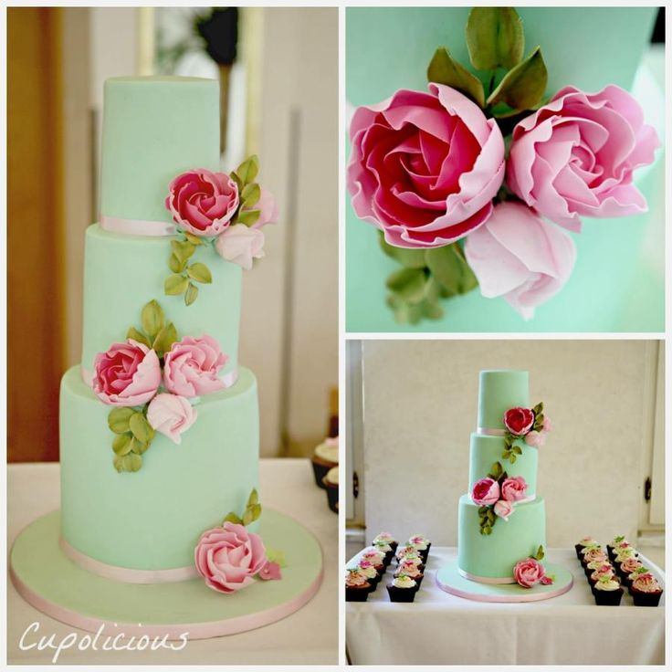 Green and pink wedding cake by Kriti Walia - http://cakesdecor.com/cakes/258050-green-and-pink-wedding-cake