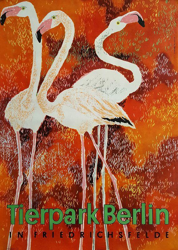 1970s Tierpark Berlin Flamingos  Original Vintage Poster