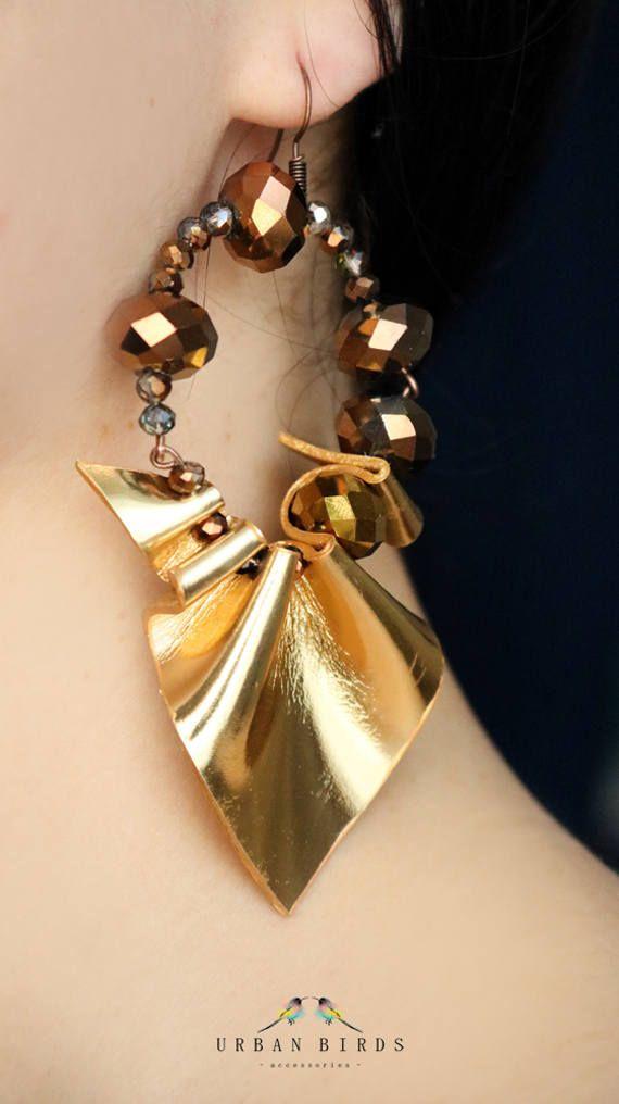 "Earrings ""Golden Bridge"", Handmade Earrings, Golden Earrings, Leather Earrings, Beads, Cool Earrings, Fashion, Glamour, Artsy by UrbanBirdsUrbanBirds on Etsy"