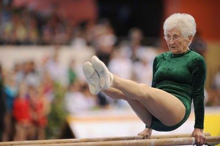 86yearold gymnast does backflips and headstands