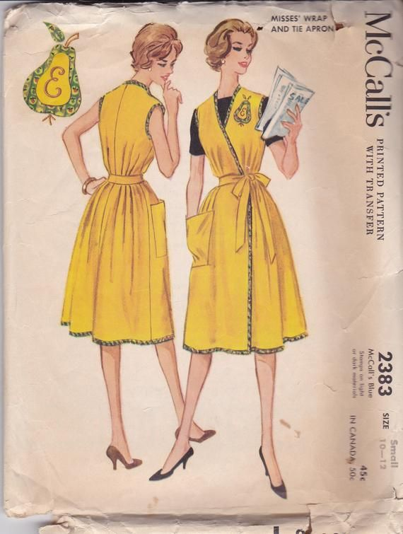 Vintage Wrap Around Housedress Apron Mccalls Pattern 1959 Size