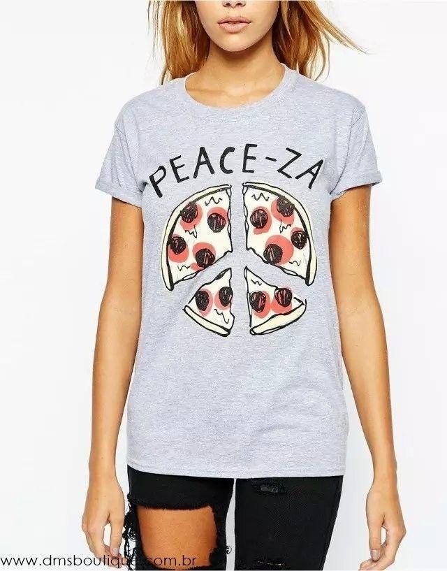 Camiseta Feminina Cinza Peace-Za - DMS Boutique