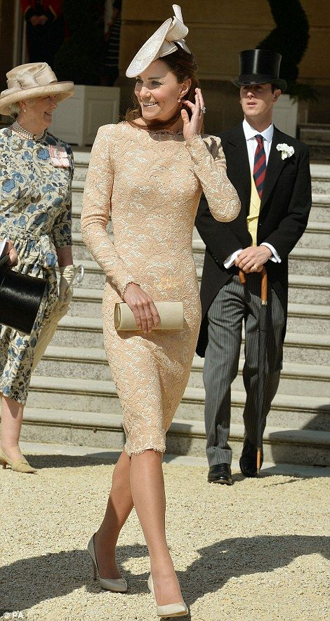 The Duchess of Cambridge wore a gold lace shift dress by Alexander McQueen to celebrate the Duke of Edinburgh's 93rd birthday