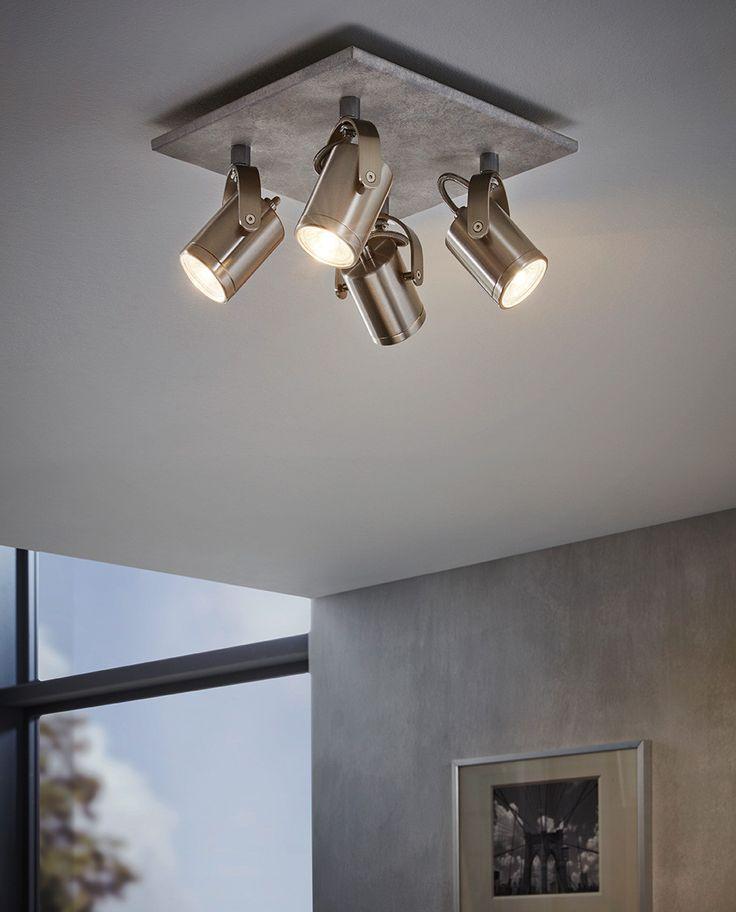 Praceta er en serie spotter fra Eglo med moderne og naturlig utseende. Takfestet har et betong-patinert look som vil passe meget bra inn hos alle som vil ha et litt industrielt look, enten det er hjemme, på hytta eller på jobben. Selve spottene har en tiltalende form og kule detaljer. Serien er tilgjengelig med to, tre og fire spotter, alle med firkantet takfeste og utførelse i matt nikkel. Leveres med LED-pærer.