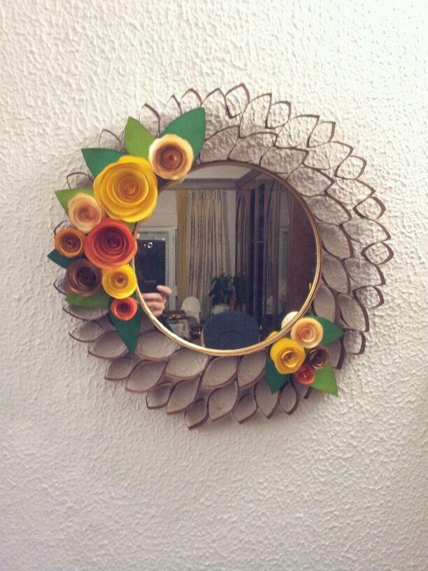 Espejo de rollos de papel reciclando pinterest - Espejo de papel ...