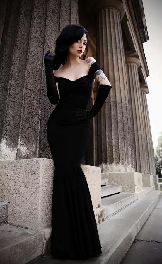 Gorgeous black body fitting gown with matching gloves...sexy and stylin'