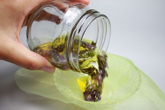 How to make lavender oil (including an option for using witch hazel): A 600ml wide-necked jar with tight-fitting lid ** 300 ml oil ** Glass mixing bowl ** Muslin ( to cover the top of the bowl) ** Dark glass bottle with tight-fitting lid or stopper ** 8 tablespoons of lavender flower for each steeping