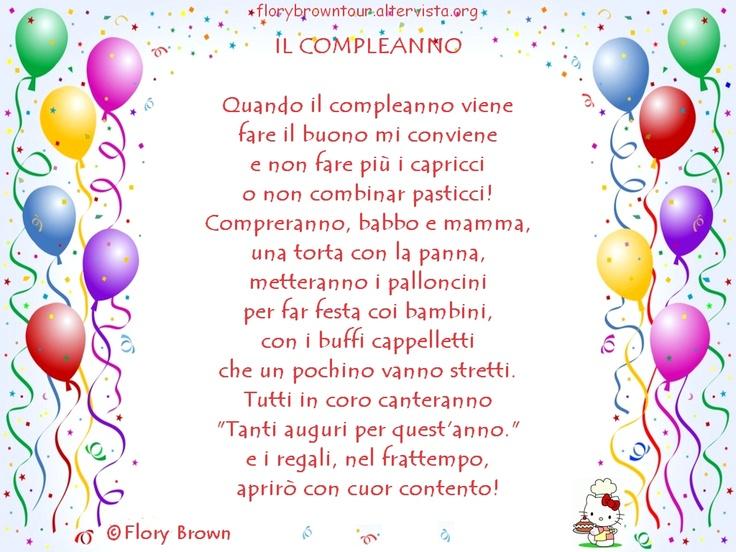 Il nuovo indirizzo del sito è florybrowntour.it - Le Filastrocche - Bella la festa di compleanno, con i palloncini colorati e i doni più graditi!