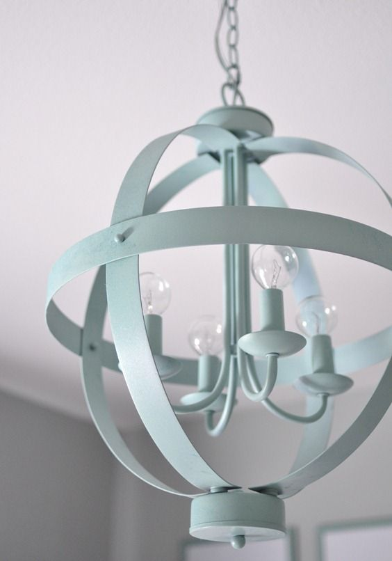 Lowes Chandelier, Spray Painted Blue Green