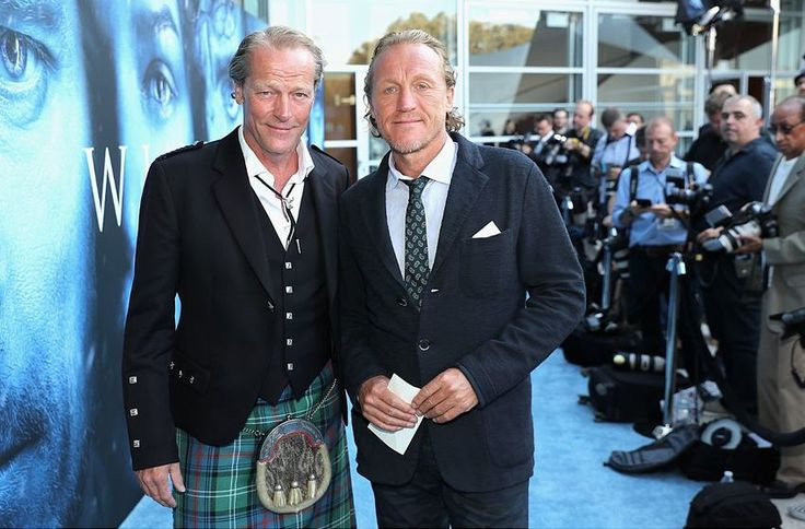 "Iain Glen and Jerome Flynn at the GoT season 7 ""blue carpet"" premiere at Walt Disney Concert Hall on Wednesday, 12 July 2017 in Los Angeles"