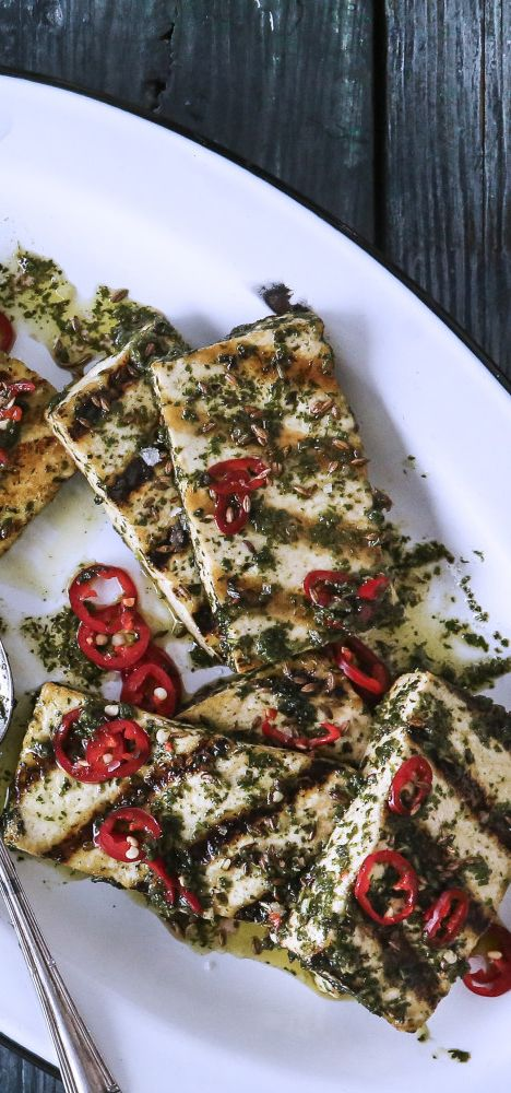 Grilled Tofu with Chimichurri recipe: Memorize this sauce. It's that good.