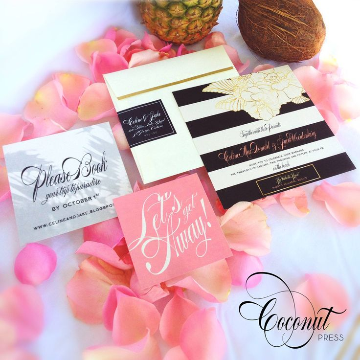 Glamorous tropical inspired destination wedding invitations // floral & gold accents // beach wedding // invitations & design by Coconut Press