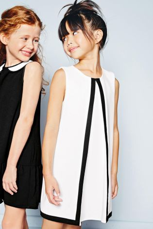 Buy Ecru Shift Dress With Contrast Binding (3-16yrs) online today at Next: United States of America